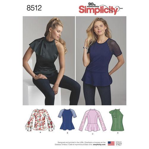 Simplicity Peplum Top Pattern 8512